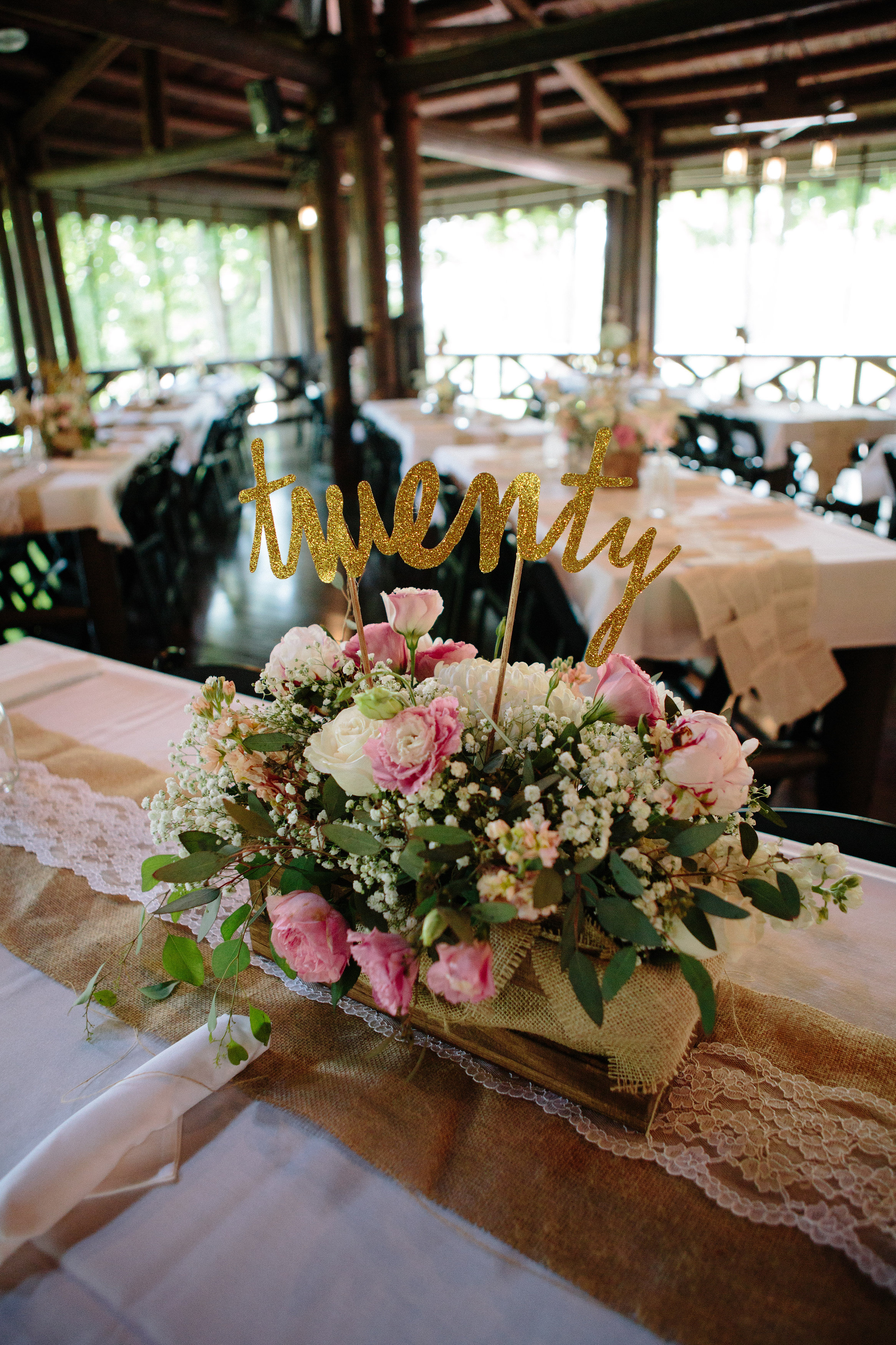 Flower Box With Cursive Glittered Table Number